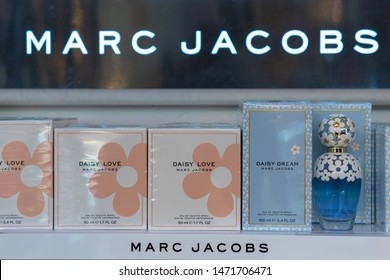 Orlando, Florida, USA-July 30, 2019: Marc Jacobs perfume boxes in exhibit in a store shelf. Marc Jacobs is an American fashion designer.