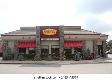 Orlando Florida-USA August 9,2019:  Denny's is an American table service diner-style restaurant chain. It operates over 1,600 restaurants in the United States, Canada, Costa Rica, El Salvador, Mexico.