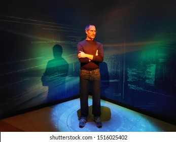 Orlando, FL/US - 20 Sep 2019: A photo of Steve jobs taken at Madame Tussauds visitor centre. The photo shows him standing with a greenish background.