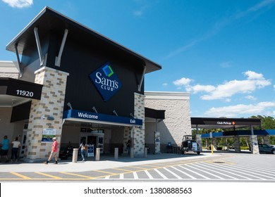 Orlando, FL/USA - 04/24/19: Sam's Club  is an American chain of membership-only retail warehouse clubs owned and operated by Walmart Inc., founded in 1983 and named after Walmart founder Sam Walton.