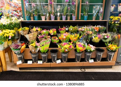 Orlando, FL/USA - 04/24/19: Spring Flowers on display at Publix grocery store in Orlando, Florida waiting to be purchased by customers.