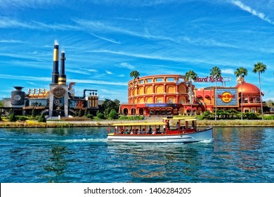 ORLANDO FL,USA - JANUARY 8, 2019 : The Hard Rock Cafe and Chocolate Emporium Restaurant at Universal Studio Resort in Orlando, Florida