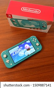 ORLANDO, FL/USA - September 20, 2019: Nintendo Switch Lite is Nintendo's latest entry into handheld gaming.  Priced at $199.99, the Switch Lite is available in yellow, turquoise and gray.