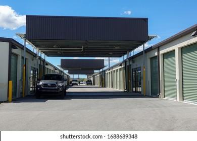 Orlando, FL/USA-3/14/20: Storage space units at Extra Space Storage.