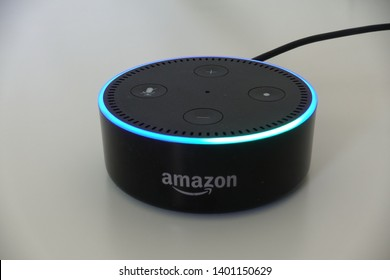 Orlando, FL/USA-5/17/19: Amazon Alexa, known simply as Alexa, is a virtual assistant developed by Amazon, first used in the Echo and the Echo Dot smart speakers developed by Amazon Lab126. Close up.