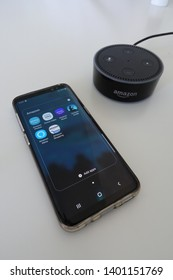 Orlando, FL/USA-5/17/19: Amazon Alexa, known simply as Alexa, is a virtual assistant developed by Amazon, first used in the Echo and the Echo Dot smart speakers developed by Amazon Lab126.  Phone app.