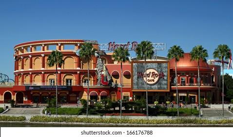 ORLANDO - OCT 25: The Hard Rock Cafe at Universal City Walk in Orlando. Taken October 25, 2013 in Orlando, FL.