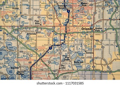 Orlando on USA map