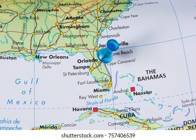 Map Of Florida Usa.Guatemala City Pinned On Map Stock Photo Edit Now 757350277