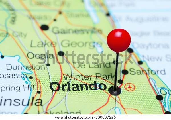 Orlando Pinned On Map Florida Usa Stockfoto (Jetzt ...