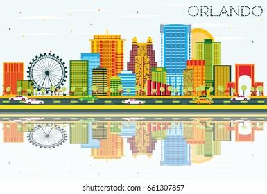 Orlando Skyline with Color Buildings, Blue Sky and Reflections. Business Travel and Tourism Concept with Modern Architecture. Image for Presentation Banner Placard and Web Site.