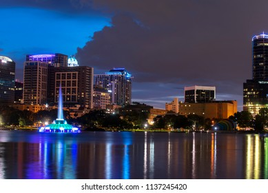 The Orlando skyline downtown with fountain at Lake Eola