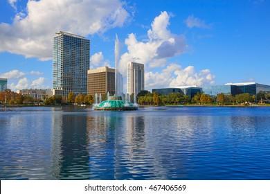 Orlando skyline fom lake Eola in Florida USA