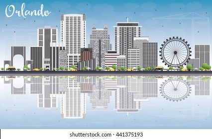 Orlando Skyline with Gray Buildings, Blue Sky and Reflections. Business Travel and Tourism Concept with Orlando City. Image for Presentation Banner Placard and Web Site.
