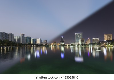 Orlando Skyline morning twilight transition on the skyline of Orlando at lake Eola