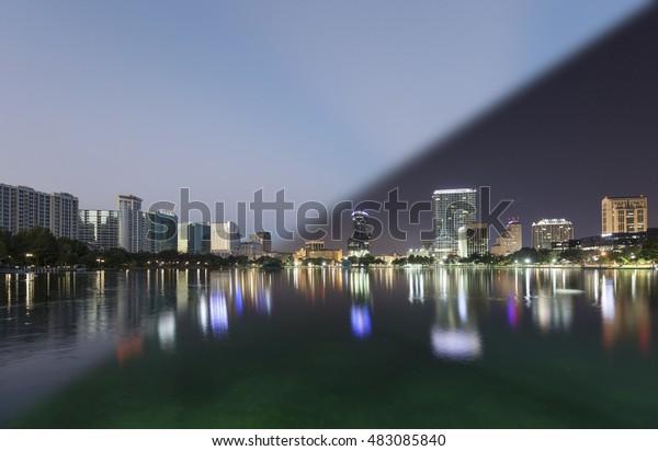 Orlando Skyline morning twilight transition on the skyline of Orlando at lake Eola