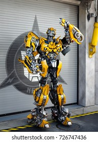 Orlando, US - March 19, 2017: Staff member dressed as 'Bumblebee' from Transformers at Universal Studios in Florida.
