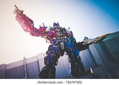 Orlando, US - March 19, 2017: Statue of 'Optimus Prime' from Transformers outside the ride at Universal Studios, Florida.