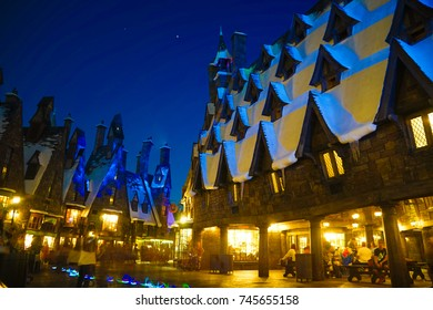 ORLANDO, USA - 17 JULY 2017.  Butterbeer and Harry Potter Hogsmeade in Universal Studio's Islands of Adventure