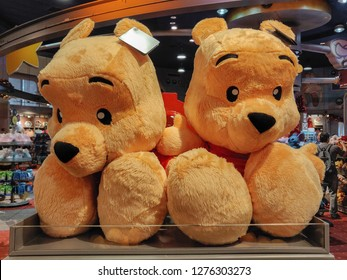 ORLANDO, USA - DECEMBER 29th, 2018: Large Winnie the Pooh plush toys on sale in a shop
