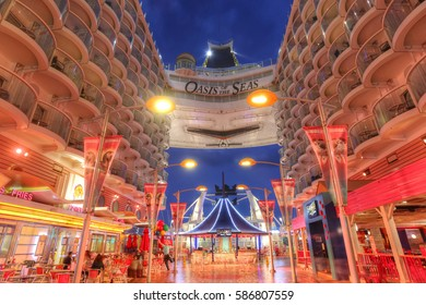 Orlando, USA - Feb, 11: Royal Caribbean, Oasis of the Seas, the largest passenger ship constructed in the world. View of the Boardwalk area in the twilight on Orlando, USA on Feb 11, 2017.