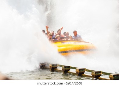 ORLANDO. USA. FLORIDA. APRIL, 2017: Ride Jurassic Park River Adventure drop. Island of Adventure. Universal.