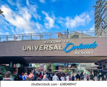 ORLANDO. USA. FLORIDA - JANUARY 05, 2017: Entrance in the Adventure Park Islands of Adventure (Universal Orlando Resort). Entrance, Islands of Adventure, Orlando, Florida, USA