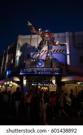 ORLANDO. USA. FLORIDA - MARCH 11, 2017: Universal Studios. Entrance of Transformers 3D ride. Night View.