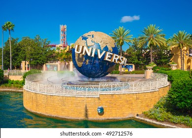 ORLANDO. USA. FLORIDA - OCTOBER 1, 2016: The famous Universal Globe at Universal Studios Florida theme park.