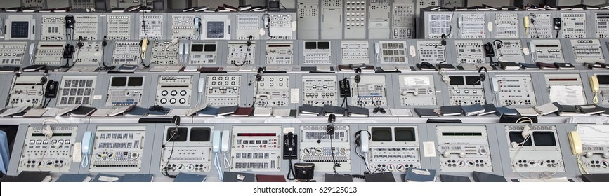 ORLANDO, USA - JULY 25, 2011: Apollo 1960s mission control equipment on display in Kennedy Space Center in Orlando.