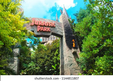 ORLANDO, USA - JULY 28, 2018: Entrance to Jurassic Park ride. Universal Studios Orlando is a theme park resort in Orlando, Florida, USA