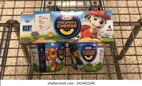 Orlando, USA, June 5, 2019: Kraft, canine patrol noodles, noodles with cheese, in the packaging informs: that is not artificial, no artificial flavor, no artificial dye, canine patrol logo.