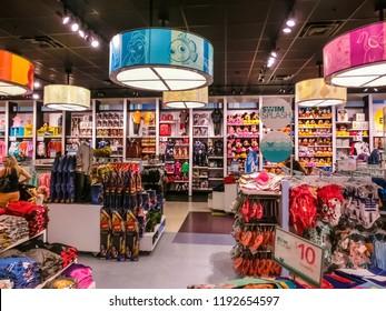 Orlando, USA - May 10, 2018: The colorful toys at Disney store indoor shopping mall Orlando premium outlet at Orlando, USA on May 10, 2018
