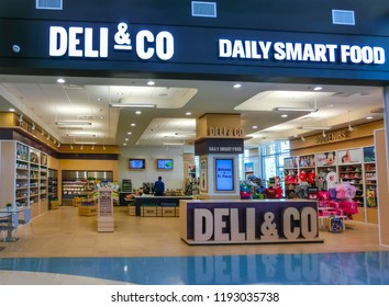 Orlando, USA - May 10, 2018: The The people at shop Deli Co at Orlando, USA on May 10, 2018