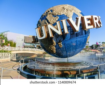 Orlando, USA - May 8, 2018: The large rotating Universal logo globe on May 8, 2018. Universal Studios is one of Orlando famous theme parks.
