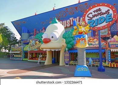 ORLANDO, USA - November 16, 2017: Krusty Land at the Simpsons area of the Universal Studios Orlando, Florida. The Simpsons is an american famous sitcom