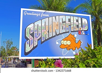 "ORLANDO, USA - November 16, 2017: Sign of Springfield in Universal Studios which is known from the sitcom ""The Simpson´s"""