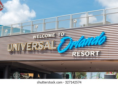ORLANDO, USA - SEPTEMBER 02, 2015: Welcome to Universal resort sign at Universal Studios Orlando. Universal Studios Orlando is a theme park in Orlando, Florida, USA.