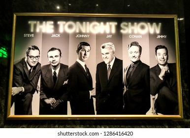 Orlando,Florida / United State - December 24 2018 : A photo display shows all of the NBC Tonight Show hosts through the years.It's located in Race Through New York Jimmy Fallon , Universal Studios.