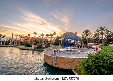 Orlando,Florida / United State - December 25 2018 : Universal Studios globe located at the entrance to the theme park.