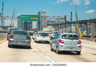 Orlando,FL/USA- 07/11/2018: Rush hour traffic comes to a halt towards downtown.