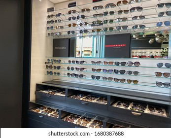 Orlando,FL/USA-2/17/20: A display of Prada Eyewear, Tiffany & Co., and Dolce & Gabbana  sunglasses at Sunglass Hut retail store at a mall.