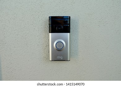 Orlando,FL/USA-5/22/19: Ring doorbell is manufactured by Ring Inc. which is a home security company owned by Amazon. Ring manufactures a range of home security products.