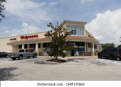 Orlando,FL/USA-7/9/19: The exterior of a Walgreens Pharmacy retail store.
