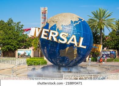 ORLANDO,USA - AUGUST 23, 2014 : The famous Universal Globe at Universal Studios Florida theme park