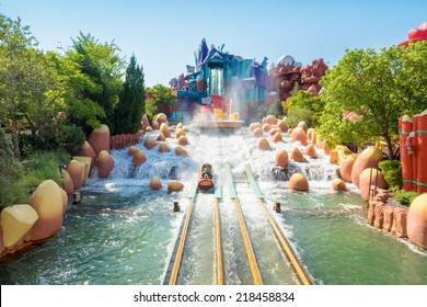 ORLANDO,USA - AUGUST 24, 2014 : The Dudley Do-Right Ripsaw Falls ride at Universal Studios Islands of Adventure theme park