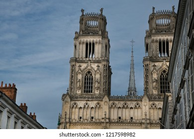 Orlean France Cathedral's towers against a blue sky