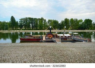 ORLEANS, FRANCE - AUGUST 11, 2015: Loire River at evening. Orleans is located on the Loire River where the river curves south towards the Massif Central.
