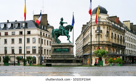 ORLEANS, FRANCE - JULY 9, 2010: view of square Place du Martroi with monument of Jeanne d'Arc in Orleans city. Orleans is the capital of the Loiret department and of the Centre-Val de Loire region