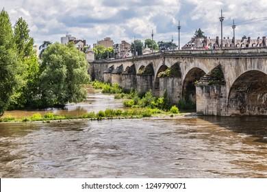 ORLEANS, FRANCE - JUNE 10, 2018: Orleans George V Bridge (Pont George-V, 1751 - 1760) - vaulted masonry bridge crosses Loire River. George V Bridge was built in honor of King George V of England.
